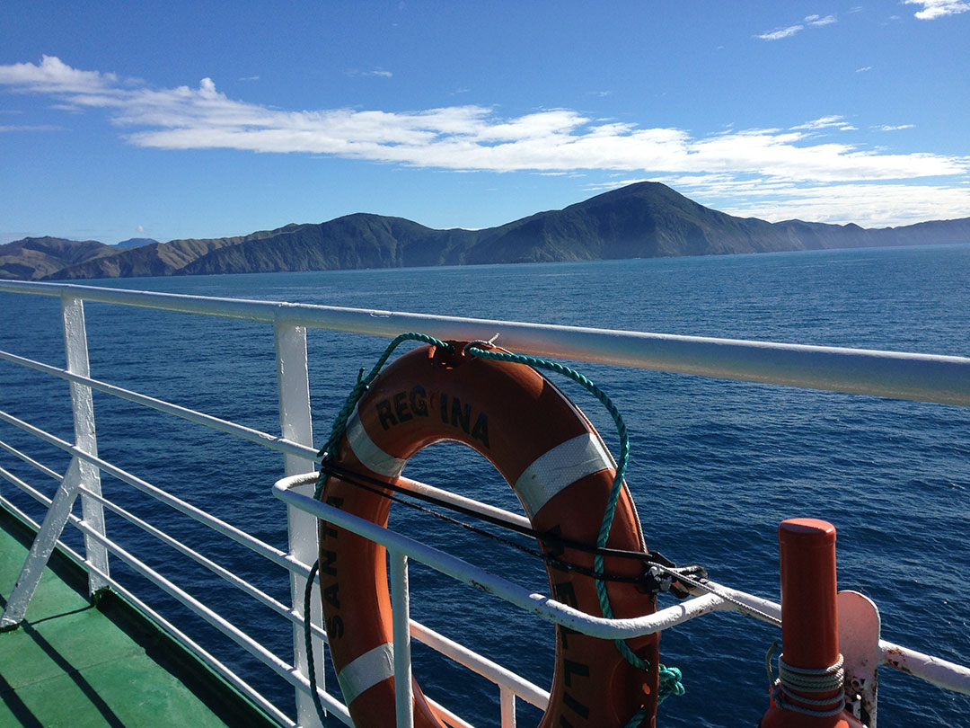 Views of the mountains and ocean while onboard the Ferry from Wellington to Picton