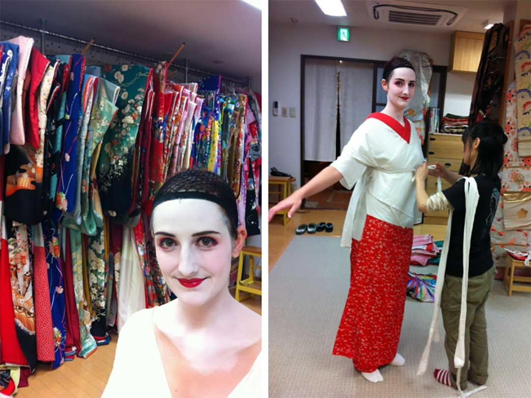 Picking out traditional Maiko Geisha kimonos in Kyoto for the Maiko photoshoot