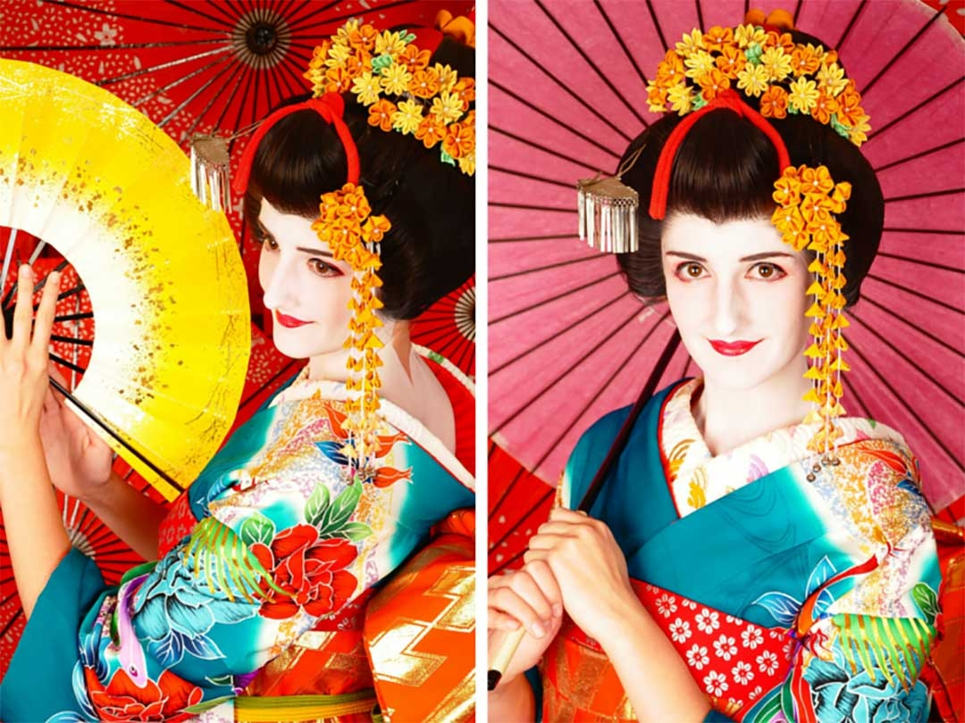 Beautiful Maiko Geisha costume and makeup in the Kyoto studio shoot