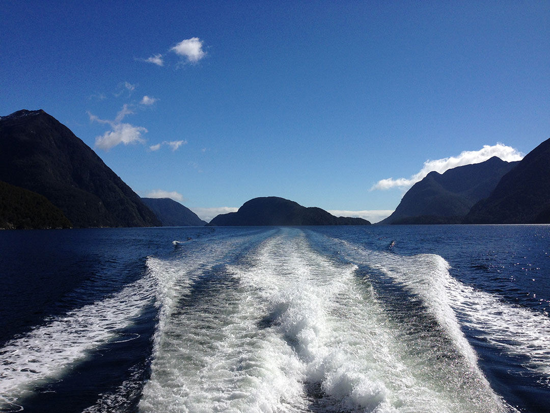 View from the back of the Catamaran, looking out over the peaceful, calm waters of Doubtful Sound with the snow-capped mountains and fjords in the background in New Zealand
