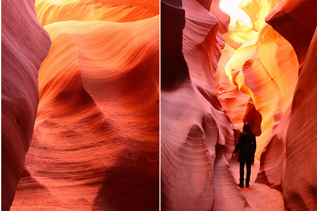 Bright yellow, orange and red colours of Antelope Canyon