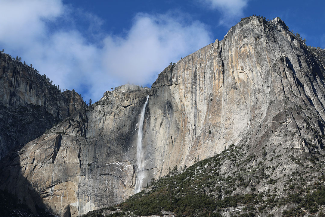 The grand Upper Yosemite Falls from the ground view with a blue sky and white fluffy clouds