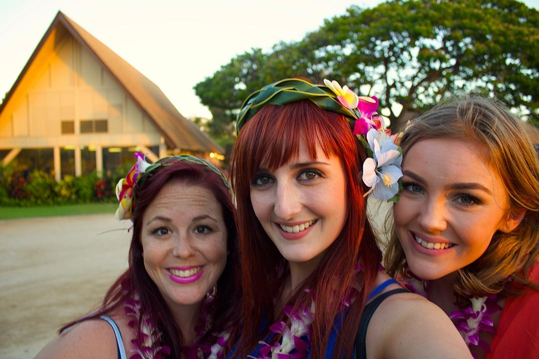 Hollie, myself and Gabi - Friends at the Luau with hand woven head-dresses and flowers in our hair