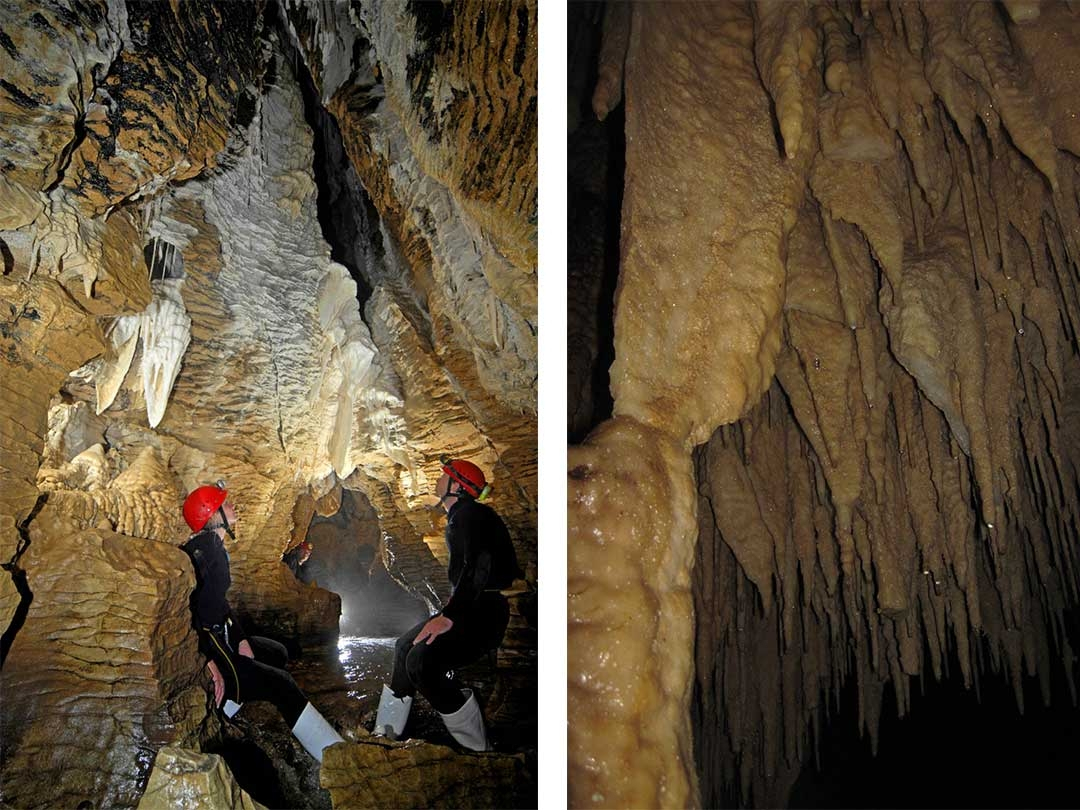 Two group members looking up at the stalactites on the ceiling of the wet cave on the left, and a close up shot of the stalactites on the right