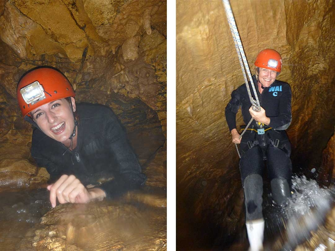 Me on the left crawling through one of the tiny passageways in the underground cave. Mum on the right abseiling down the underground waterfall.