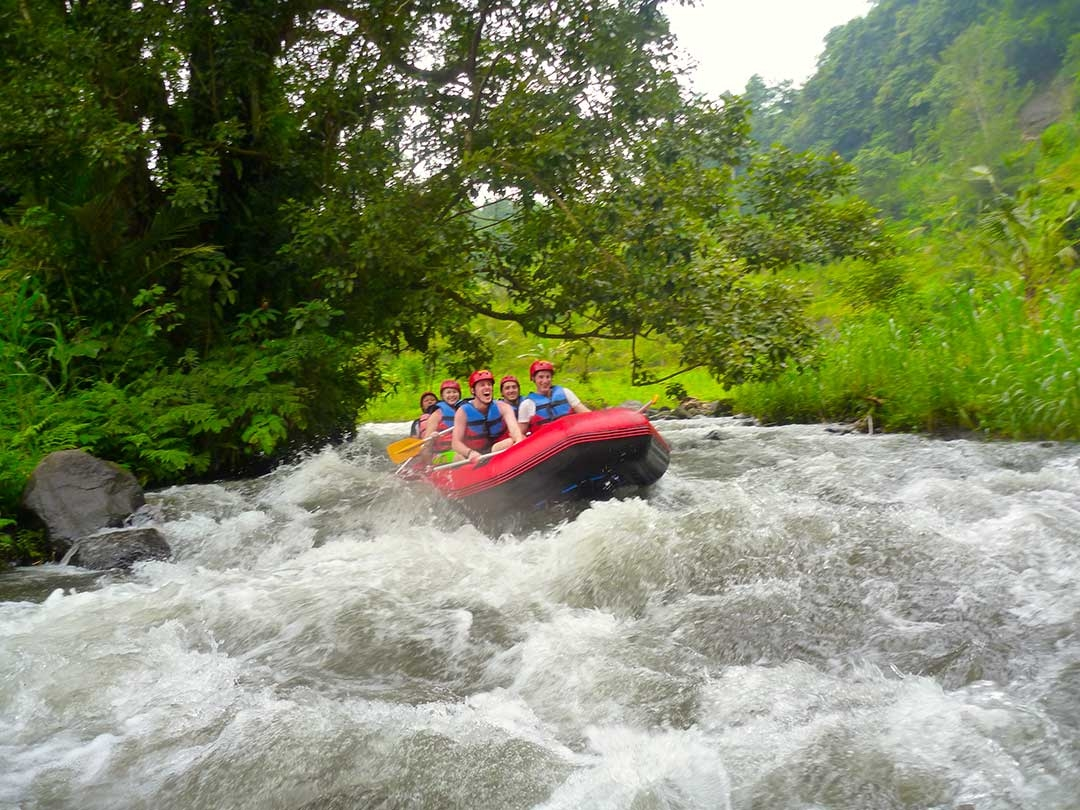 A group of white water rafters come around the corner of the rapids while laughing and screaming with joy
