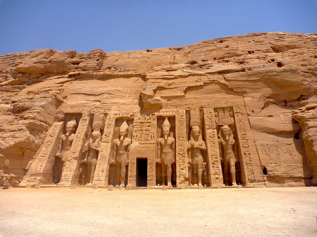 Amazing carvings on the front of Abu Simbel in Egypt in Summer