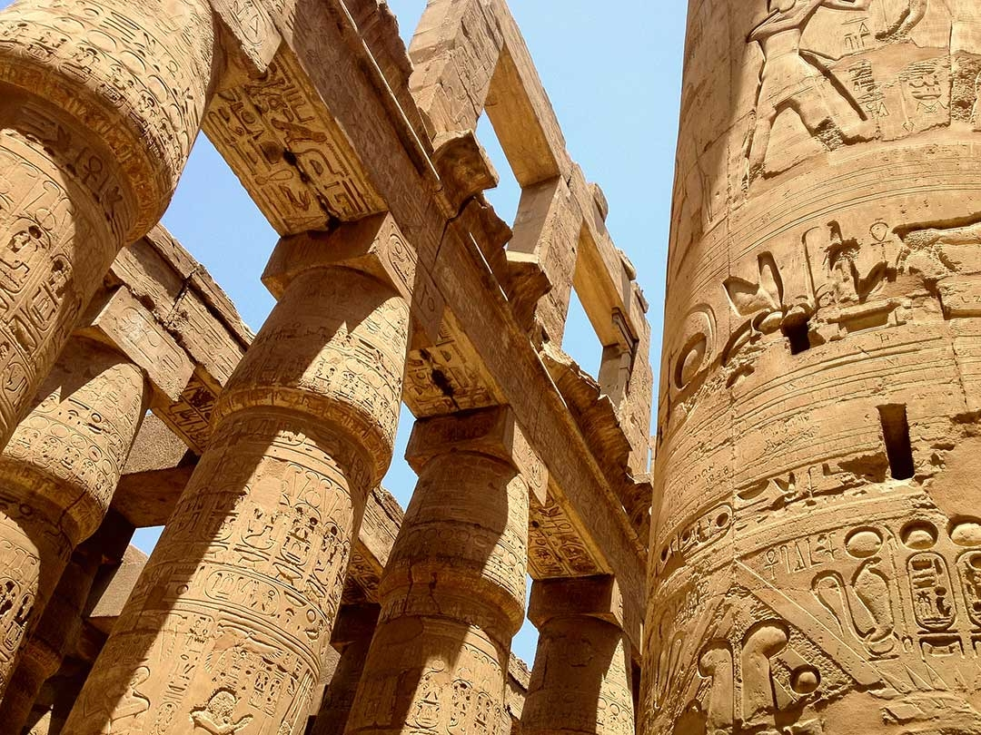 Incredible intricate carvings on pillars as part of Hatshepsut's temple in Egypt