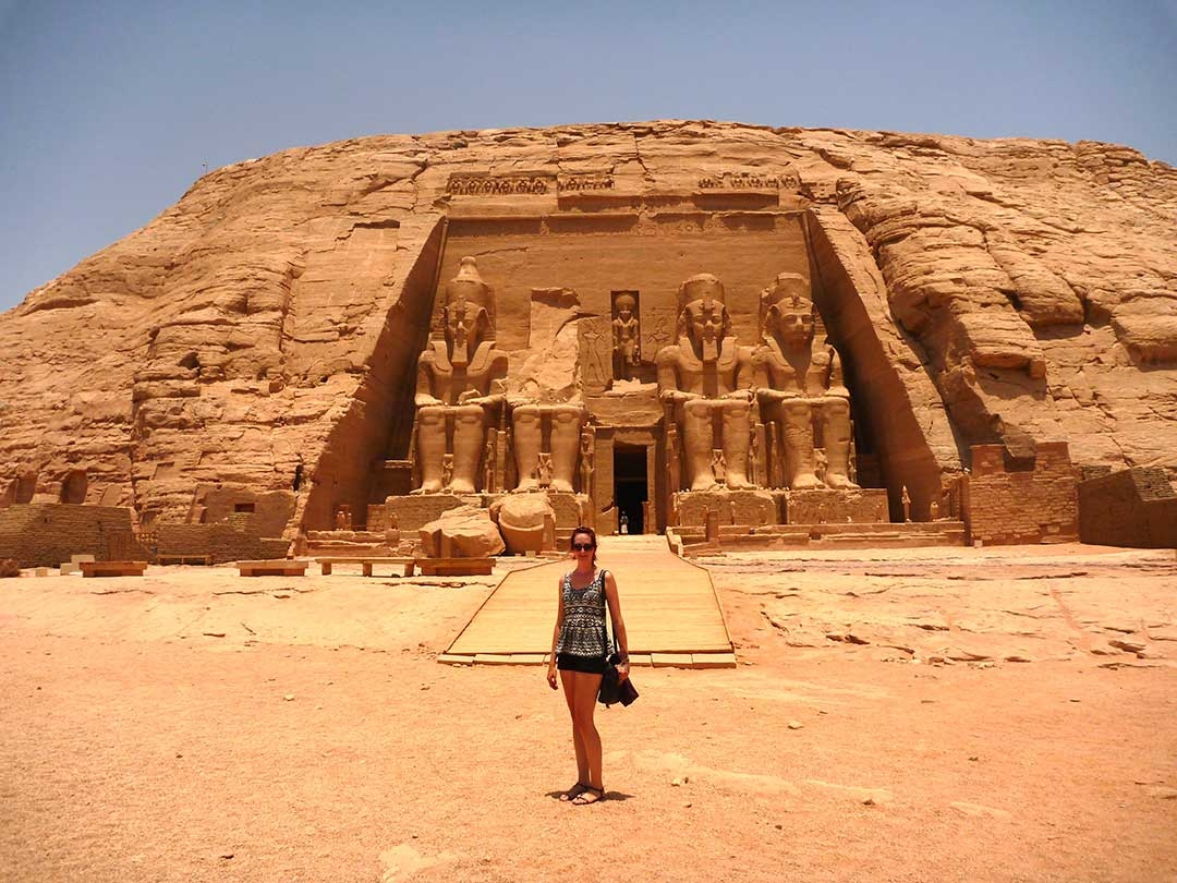 Me standing out the front of Abu Simbel in Egypt on a really hot summer day