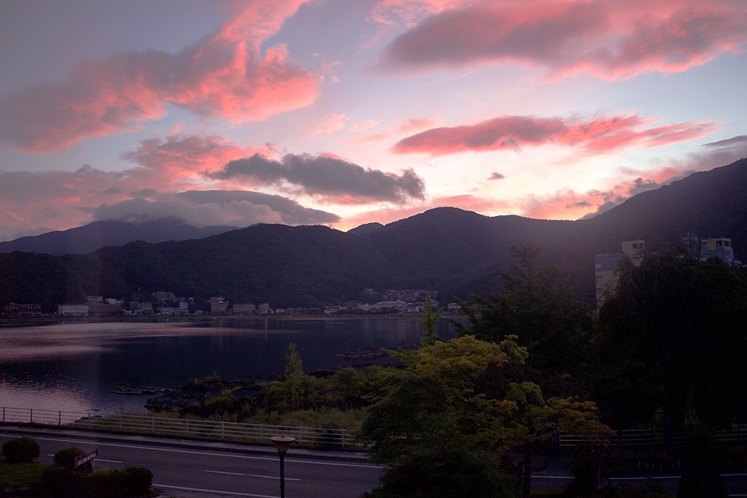 The view from our Ryokan over Lake Kawaguchi