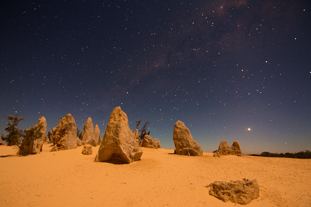 The Pinnacles and Milky Way in Western Australia during the night