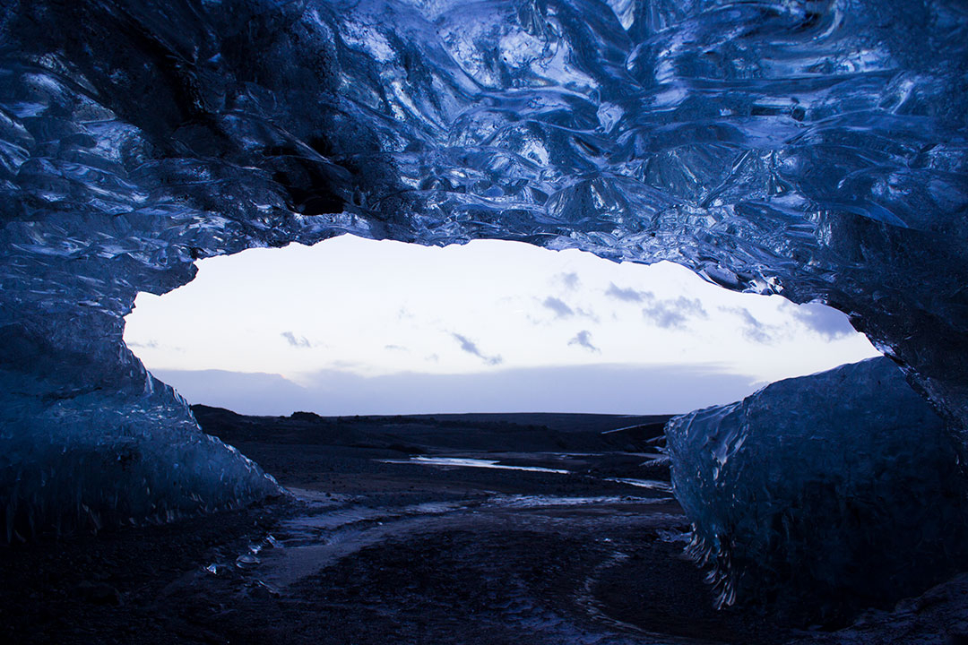 Blue Ice Caves or Crystal Ice Caves of Svínafellsjökull, part of the Vatnajökull glacier in Skaftafell National Park, Iceland
