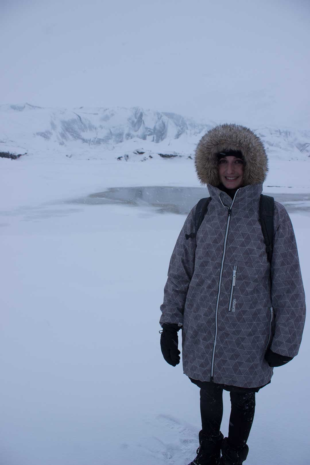 Winter in Iceland wearing a big jacket