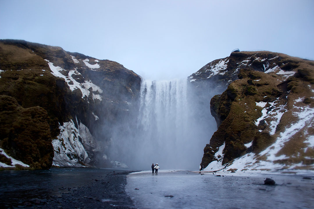 Winter in Iceland Skogafoss Waterfall