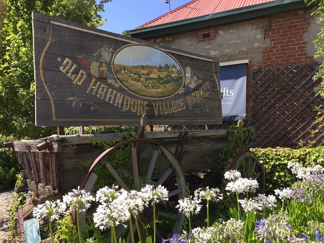 Little town of Hahndorf in the Adelaide Hills with old signs and pretty flowers