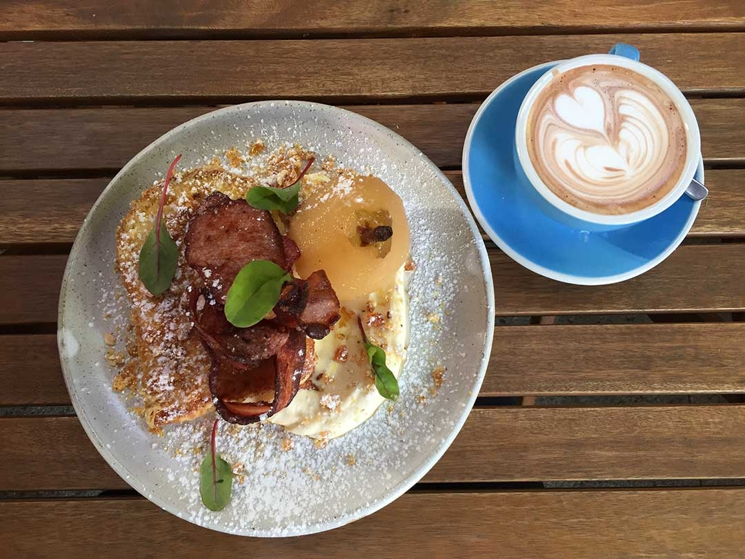 French toast and bacon decorated with leaves at Peter Rabbit Cafe in Adelaide