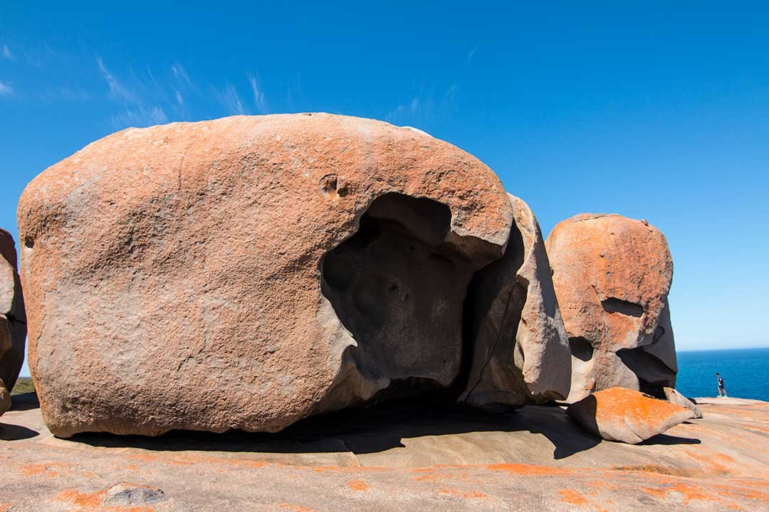 Beautiful orange Remarkable Rocks against a perfect blue background on Kangaroo Island day trip from Adelaide, South Australia
