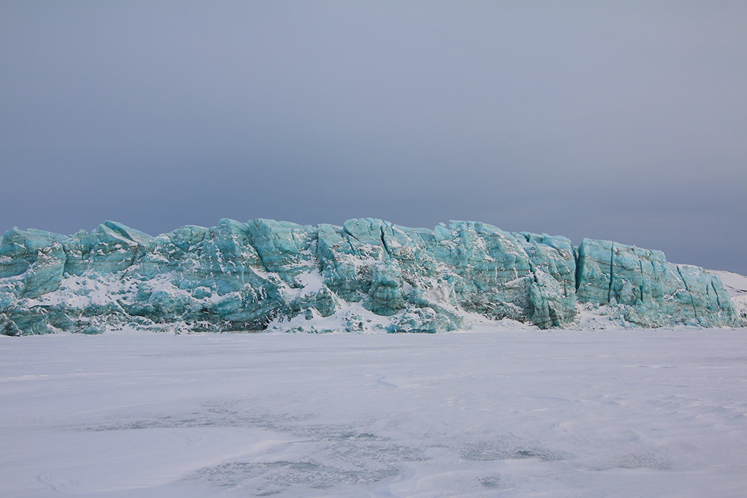 Giant Icebergs in the Arctic in Svalbard