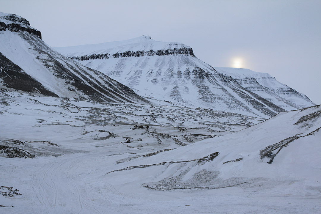Svalbard snow covered mountains