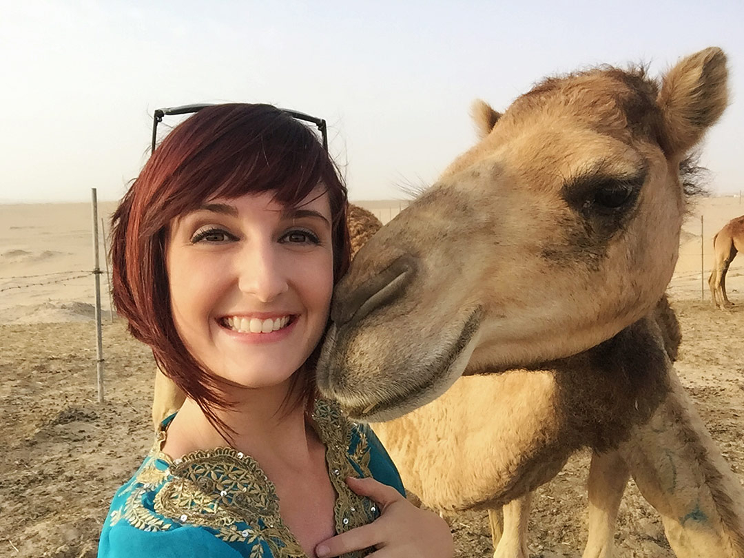 Selfie with a camel in the Dubai Desert