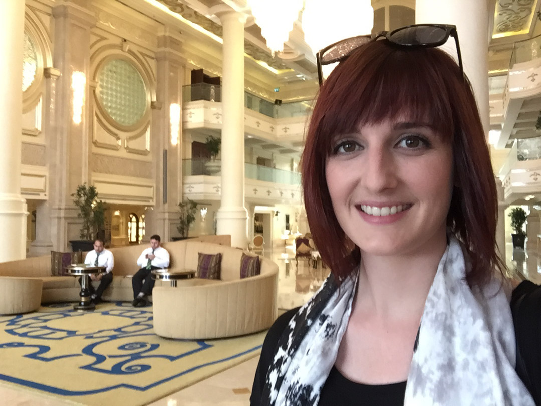 Ritz-Carlton Abu Dhabi selfie in the lobby