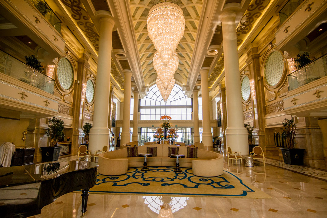 Ritz-Carlton Abu Dhabi Lobby with three grand chandeliers
