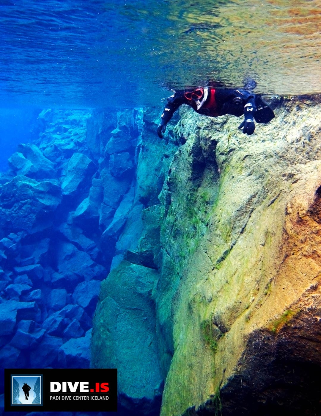 Silfra Fissure swimming and snorkelling between the tectonic plates in Iceland